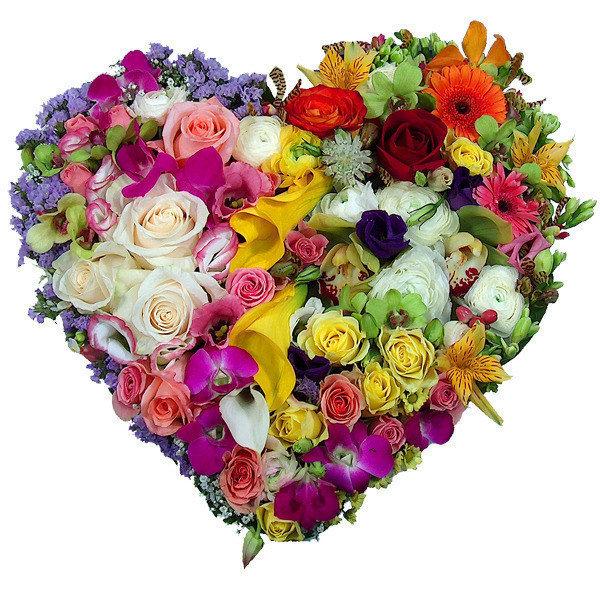 Сердечко из цветов открытка