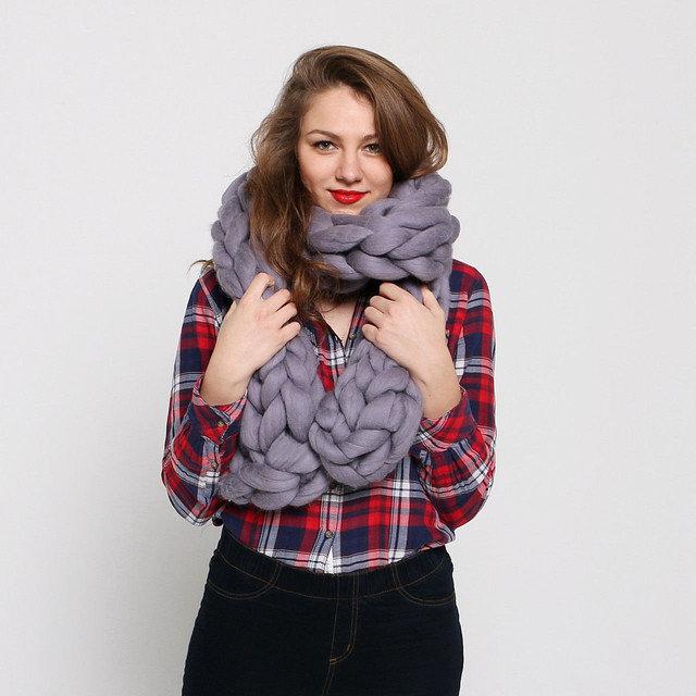 шарф из толстой пряжи руками