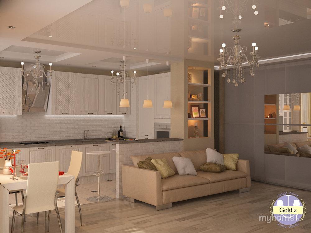 Проект: объединенное пространство кухни и гостиной, автор go.