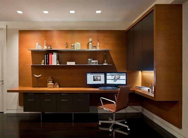 Простые геометричные формы и теплая текстура дерева способны создать комфортное современное пространство домашнего кабинета.