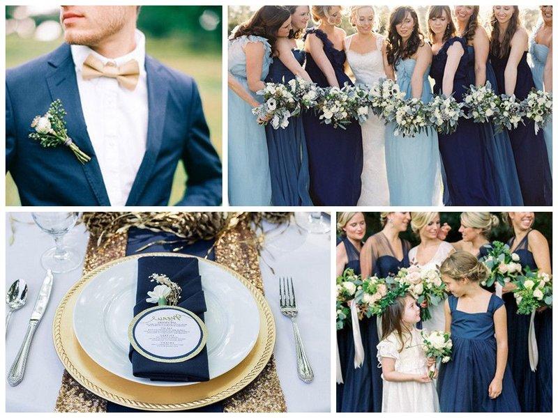 Свадьба в синем цвете: фото жениха и невесты, оформление зала, значение. Бело-синяя или красно-синяя свадьба — это особенно модно!