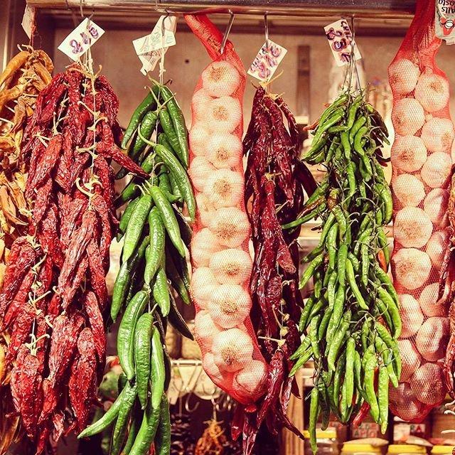 #market #Barcelona #spain #onion #pepper