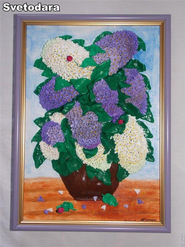 Букет цветов картина из полимерной глины