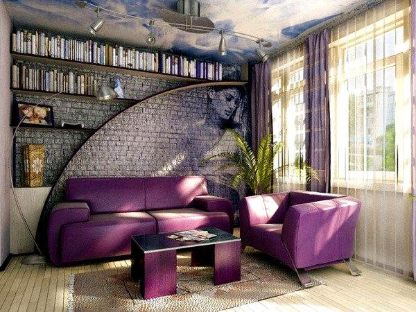 Интерьер комнаты для релаксации, чтения