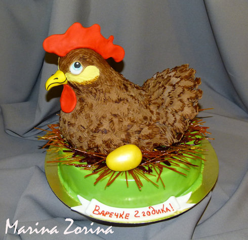 торт - курочка с золотым яичком