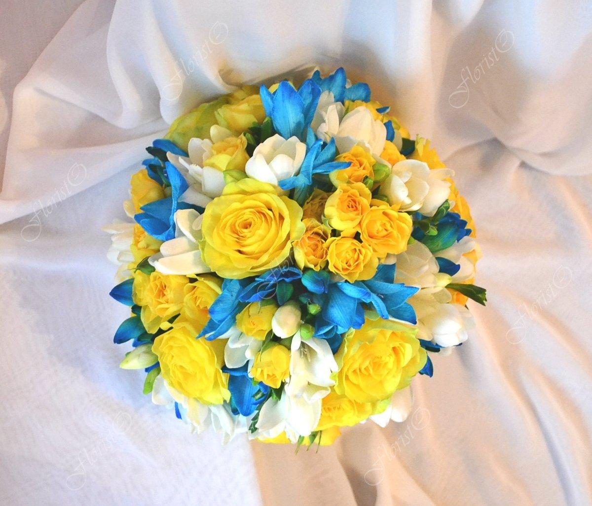Свадебный букет бирюзовый с желтым, цветы где купить