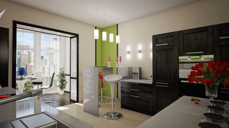 """Дизайн кухни барная стойка совмещенной кухни с гостиной."""" - ."""