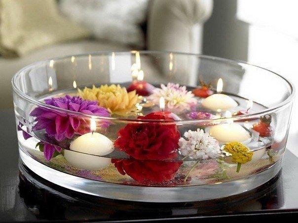 Плавающие свечи с цветами