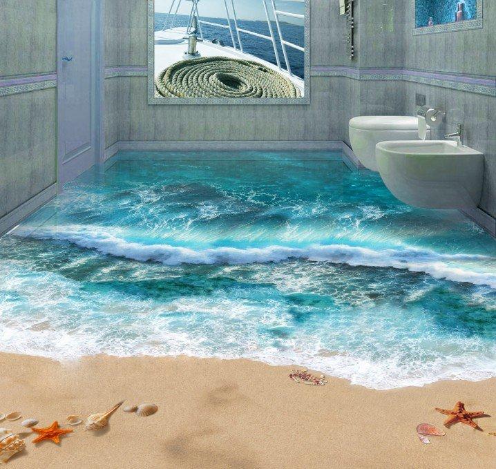 3д полы фото в ванной