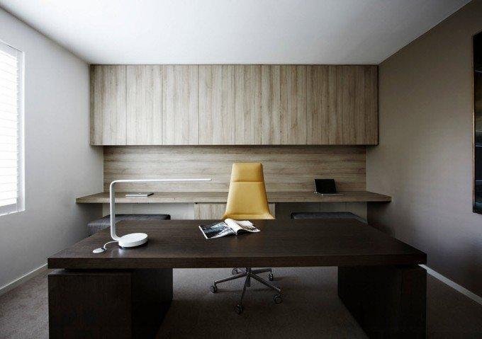 Интерьер домашнего кабинета - В современном стиле (в сером и белом цвете, чёрный большой стол)