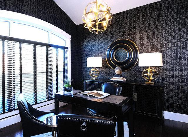 Дизайн маленького кабинета в темных тонах требует больше источников освещения