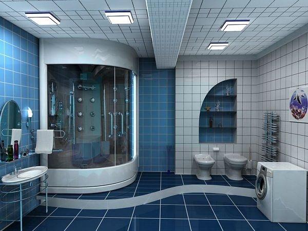 Несколько примеров как может выглядеть ванная с душевой кабиной.