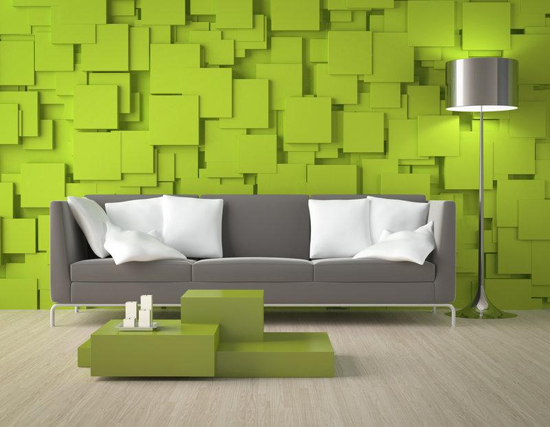 Великолепное оформление интерьера в зеленых тонах