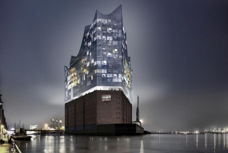 Elbphilharmonie — гамбургская филармония (Германия), проект бюро Herzog & de Meuron. Здание, построенное на берегу Эльбы, включает 3 концертных зала, гостиницу, 45 квартир и общественную площадку под названием Плаза.