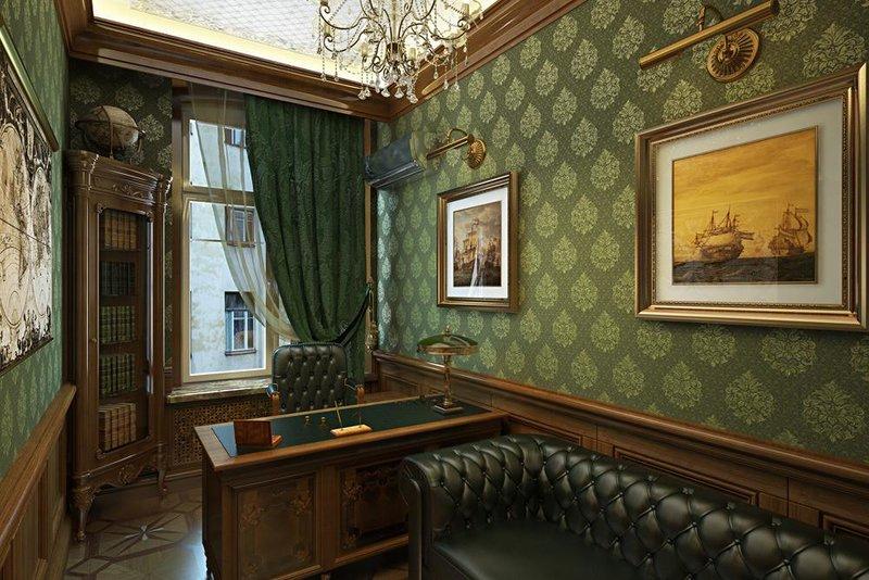 Сочетаем благородное дерево с темно-зеленым цветом стен и штор - получается очень интересно и мужественно.