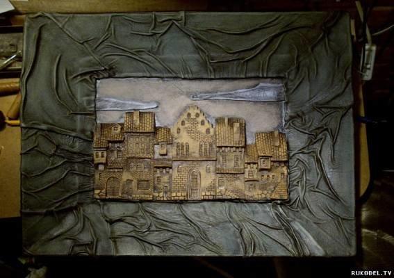 Картина город из полимерной глины