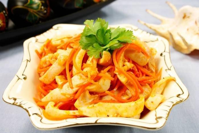 Кальмары с корейской морковкой рецепты с фото