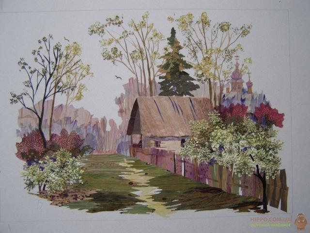 деревня и цветущие деревья