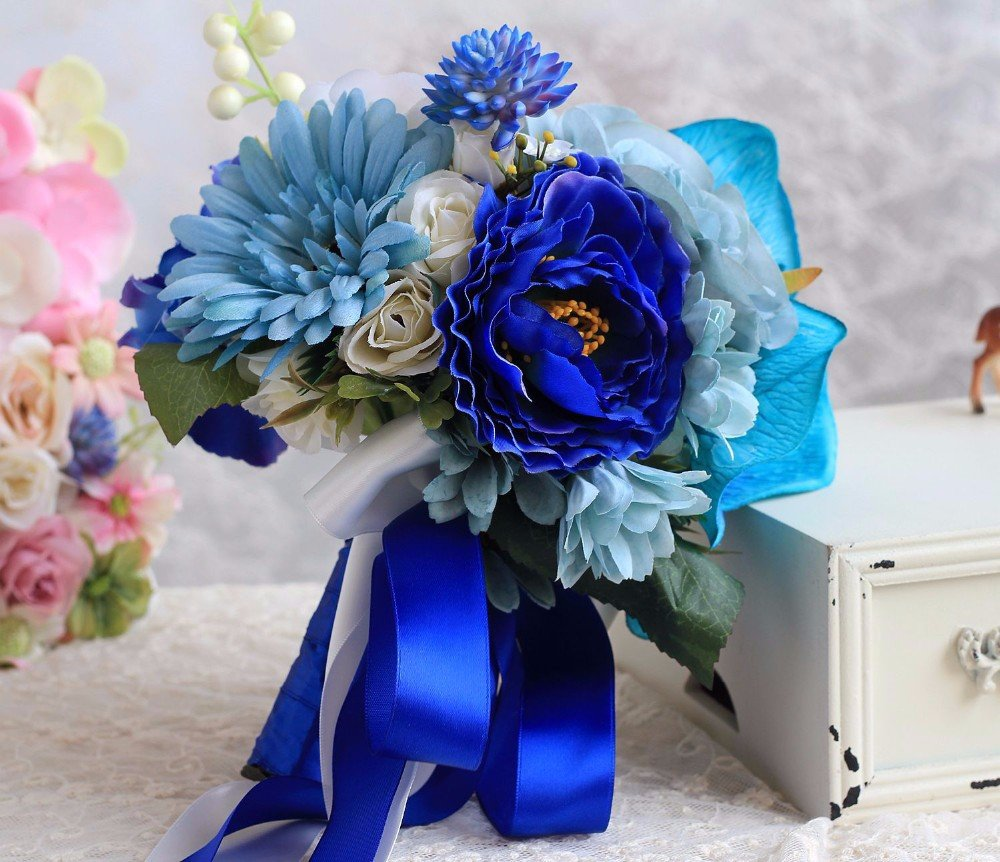 Редкий букет невесты фото синий, букеты