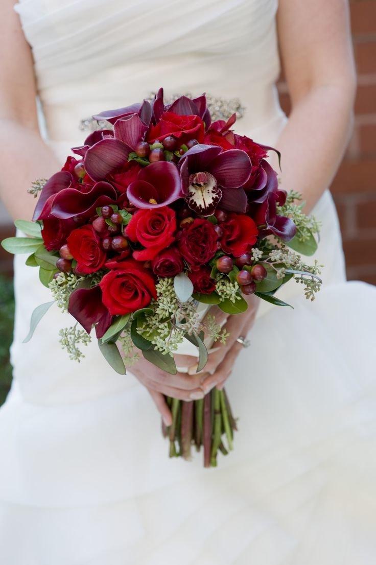 Букет невесты фото цвет марсала