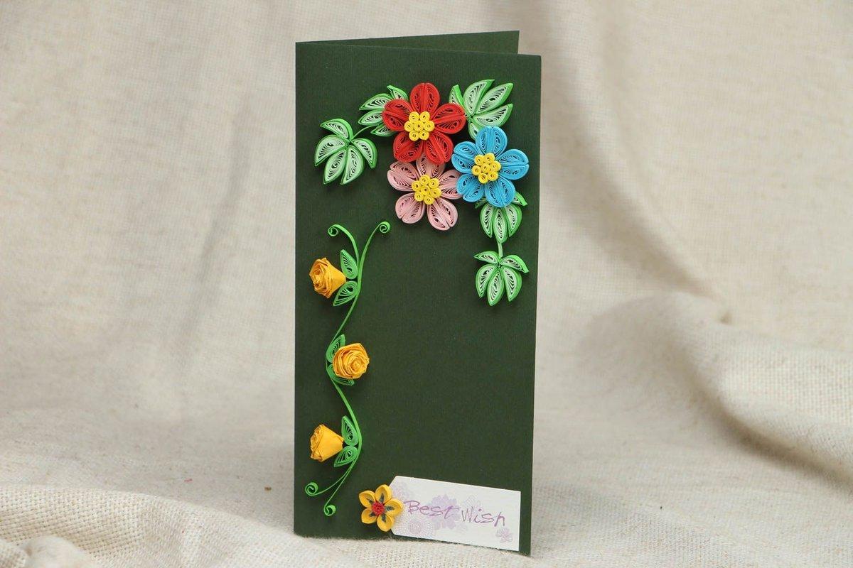 Цветы квиллинг своими руками открытка