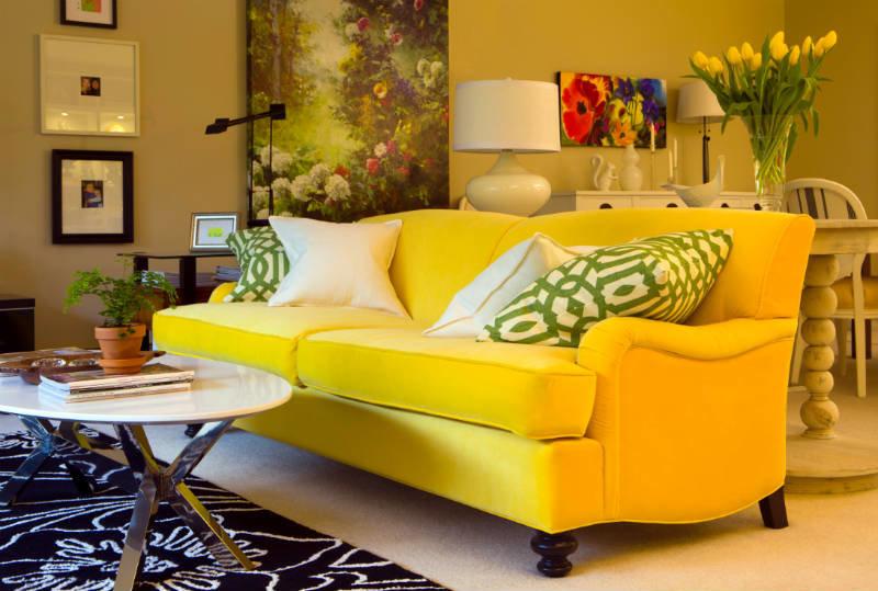 Желтая гамма в интерьере дома