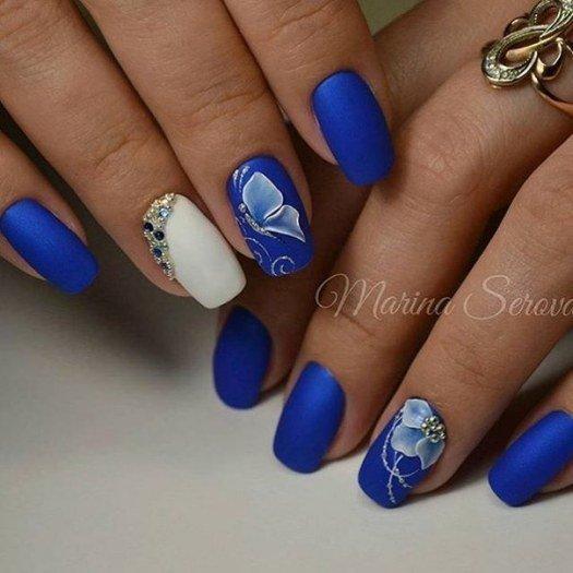Гель-лак дизайн синий цвет