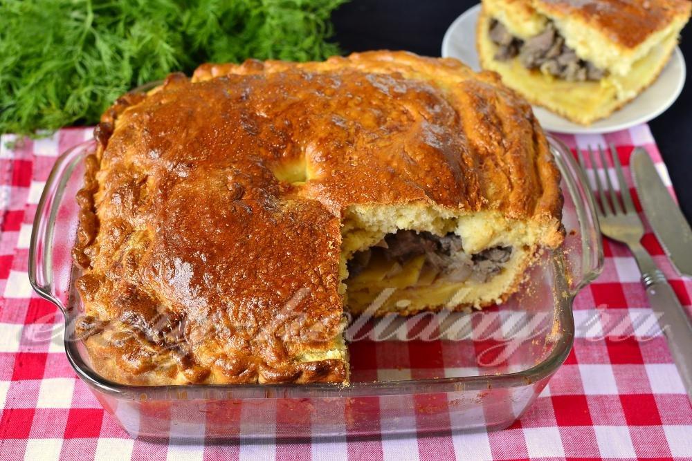 пирог с картошкой и мясом из дрожжевого теста в духовке рецепт с фото
