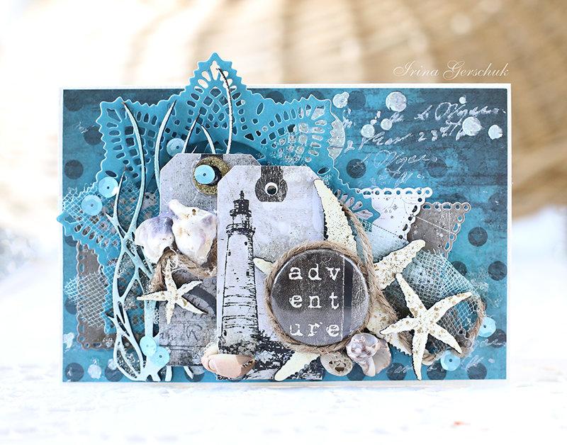 Скрапбукинг открытка с морской тематикой, для