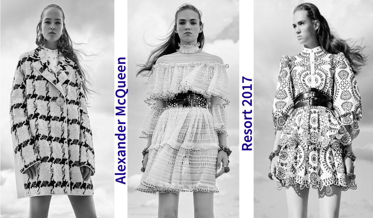 Коллекция Alexander McQueen Resort 2017 – сельские мотивы и глэм-рок с акцентом на стиль 60-х!   Новости