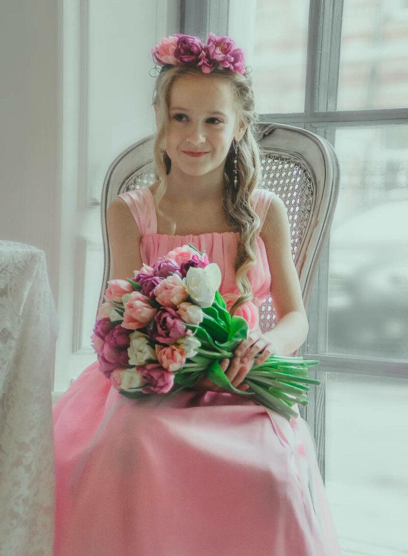 Букет невесты  в коралловом цвете