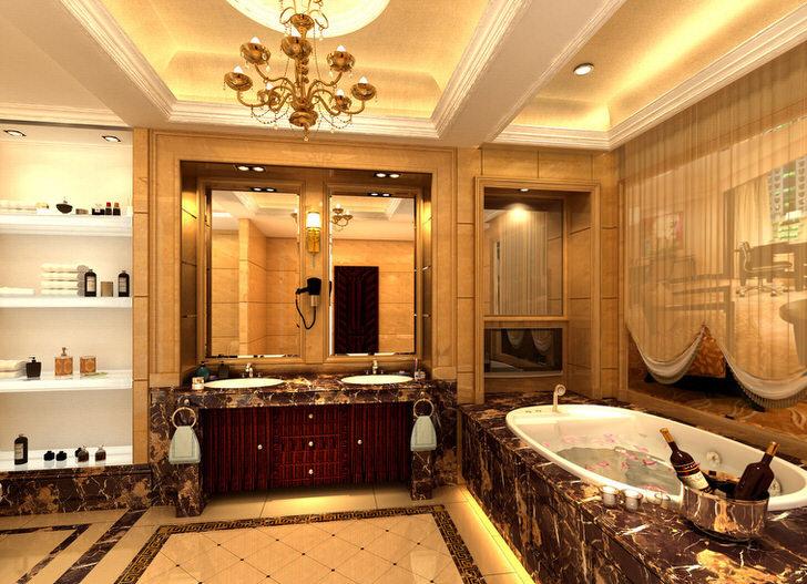 Огромная ванная в стиле ампир искусно украшена мелкими декоративными деталями.