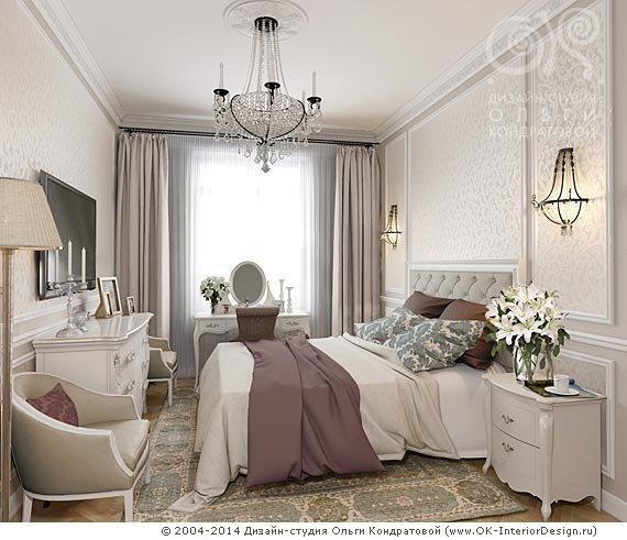 На фото: Дизайн интерьера спальни выполнен в стиле сталинский ампир с элементами неоклассики. Лепнина, хрустальная...