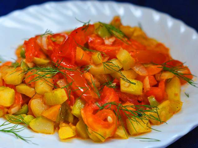 овощное рагу с кабачками и картошкой и курицей рецепт
