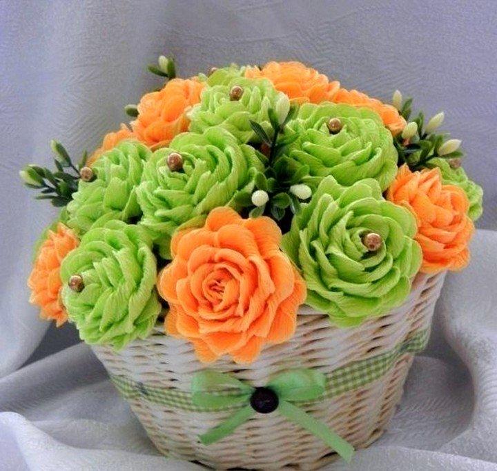 Цветы и корзины из гофробумаги