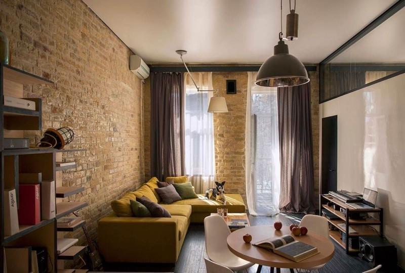 спроектирован гостиная в стиле лофт в хрущевке своем