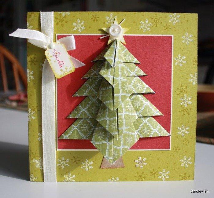 Открытки из оригами на новый год