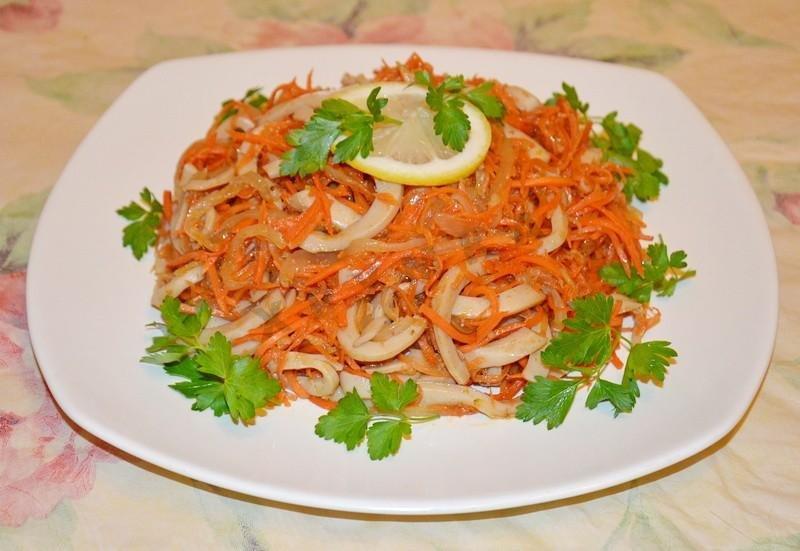 Салат из кальмаров по корейски рецепт с фото