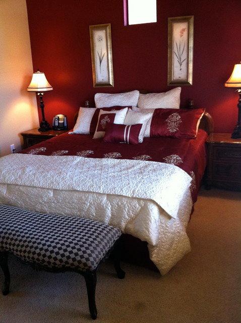 Современный дизайн спальни в  красном цвете