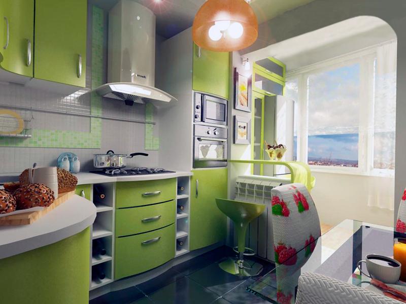 Еще одним кардинальным шагом на пути расширения малогабаритной кухни может стать создание кухни студии. Популярность кухни студии стала своеобразной модой в дизайне кухни маленькой площади. Выбирая такой дизайн кухни в хрущевке лучше взвесить все за и против. Иногда такой вариант неприемлем из-за общей маленькой площади квартиры и утраченной функциональности других комнат.