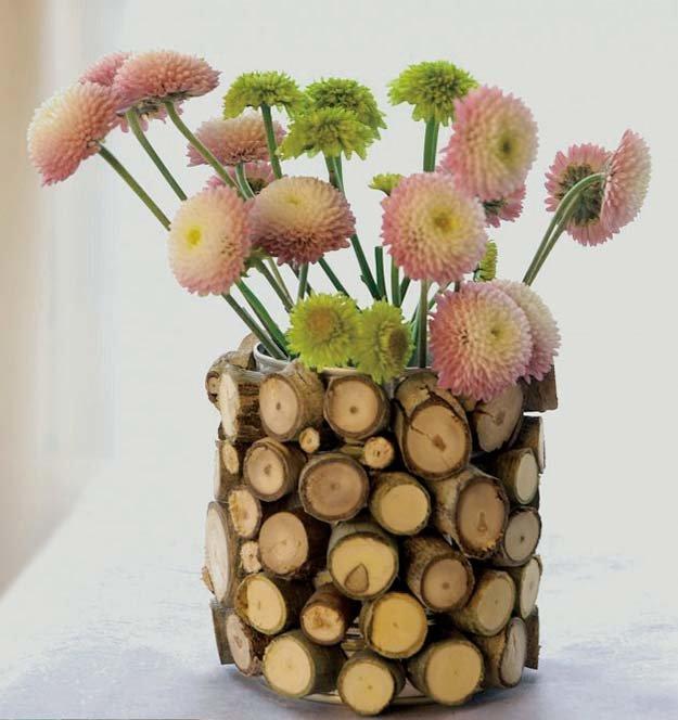 Декоративные вазы для интерьера - поделки из спилов дерева поделки из спилов дерева