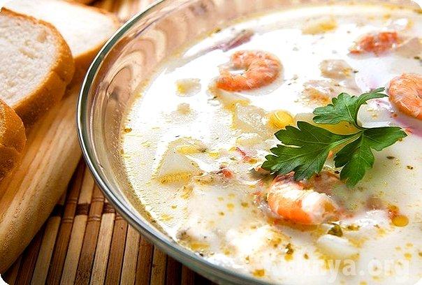 Сыреый суп с морепродуктами