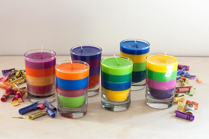 Разноцветные свечи своими рукам