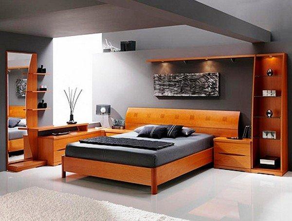 Деревянная спальня в стиле хай-тек