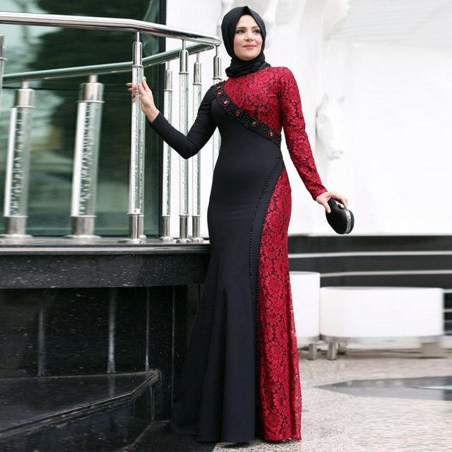 27cd64dbb30 ... Купить товар 2016 Турецкие Исламские Вечерние Платья Длинные Рукава  Мусульманских Вечернее Платье Дубай Красный Кружева Кафтан