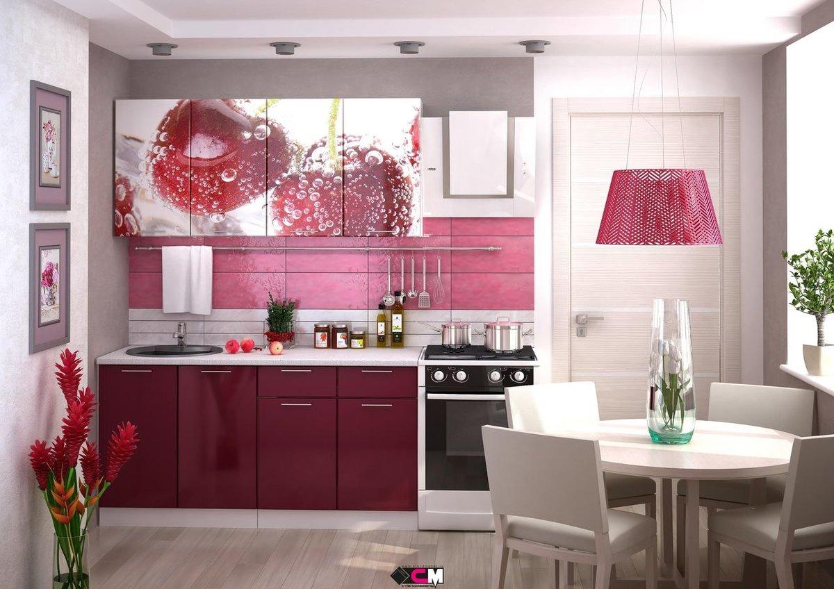 Кухня в цвете азалия
