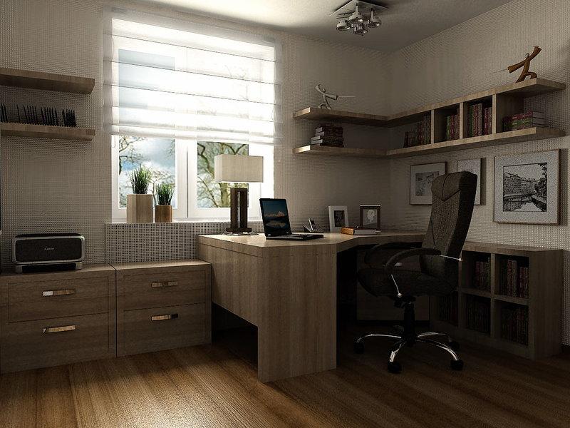 домашний кабинет с освещенный 4-ма лампами на потолке и настолькой лампой