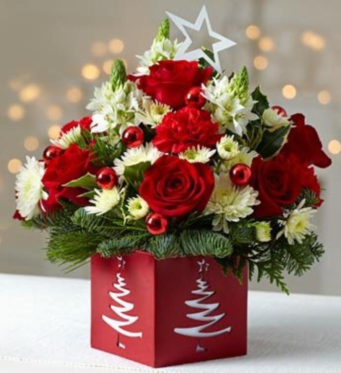 Купить, зимний букет цветов на день рождения