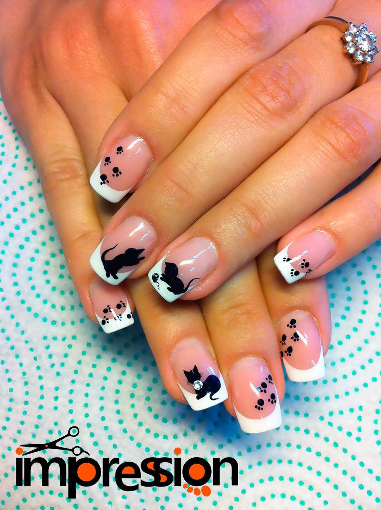 Рисунок кошки на ногтях картинки