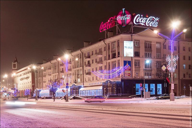 Новый год на улицах Минска. Минск ночью.